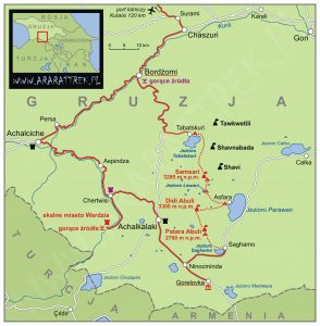 Mapa trasy trekkingu w Dżawachetii
